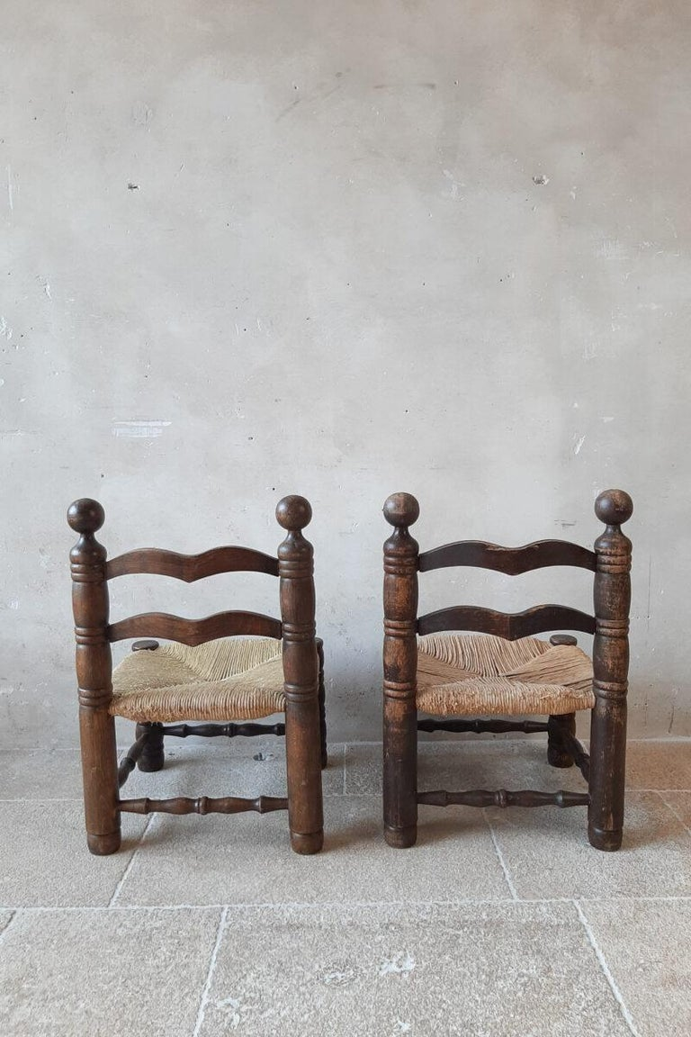 European Pair of Charles Dudouyt Finca Style Chairs with Wicker Upholstery For Sale