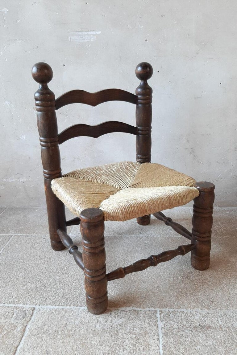 Pair of Charles Dudouyt Finca Style Chairs with Wicker Upholstery In Good Condition For Sale In Baambrugge, NL