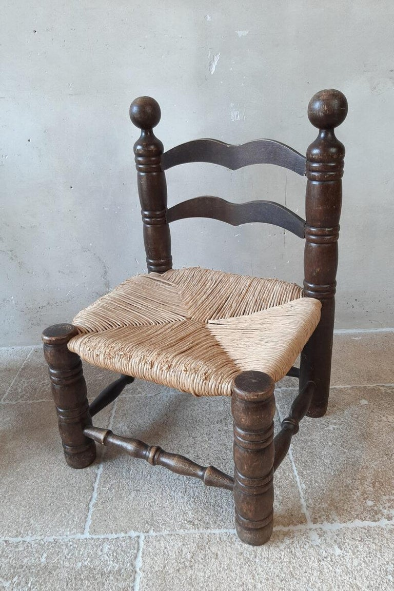 Mid-20th Century Pair of Charles Dudouyt Finca Style Chairs with Wicker Upholstery For Sale