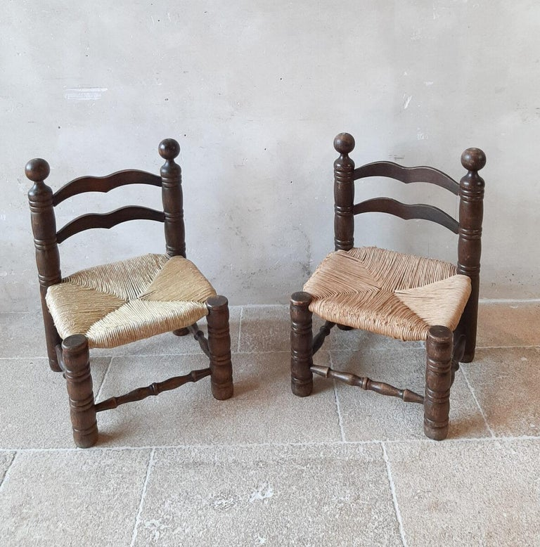 Pair of Charles Dudouyt Finca Style Chairs with Wicker Upholstery For Sale 1