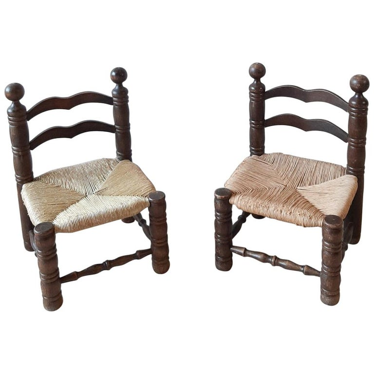 Pair of Charles Dudouyt Finca Style Chairs with Wicker Upholstery For Sale