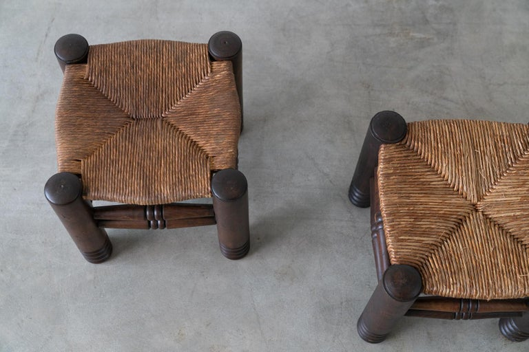 Pair of Charles Dudouyt Stools In Good Condition For Sale In Los Angeles, CA