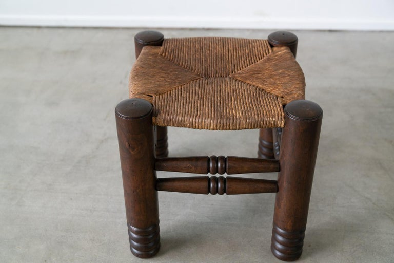 Oak Pair of Charles Dudouyt Stools For Sale