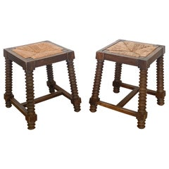 Pair of Charles Dudouyt Wood Stools