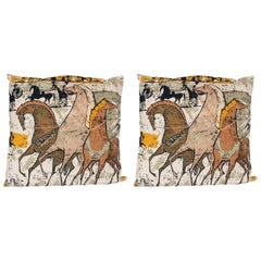 Pair of Charles Eames Etruscan Print Pillows with Raised Diamond Print Backing