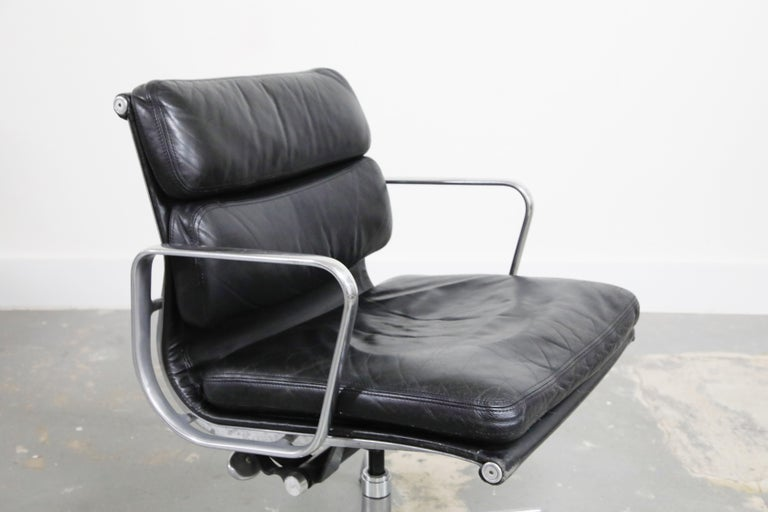 Pair of Charles Eames for Herman Miller Leather Soft Pad Swivel Chairs, Signed For Sale 3