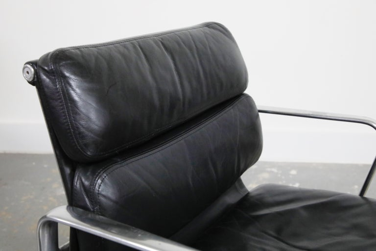 Pair of Charles Eames for Herman Miller Leather Soft Pad Swivel Chairs, Signed For Sale 4