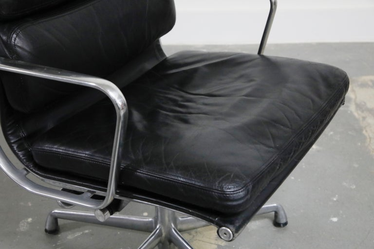 Pair of Charles Eames for Herman Miller Leather Soft Pad Swivel Chairs, Signed For Sale 5