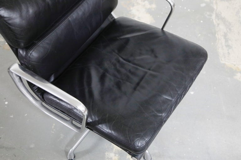 Pair of Charles Eames for Herman Miller Leather Soft Pad Swivel Chairs, Signed For Sale 6