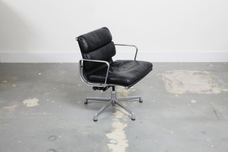 American Pair of Charles Eames for Herman Miller Leather Soft Pad Swivel Chairs, Signed For Sale
