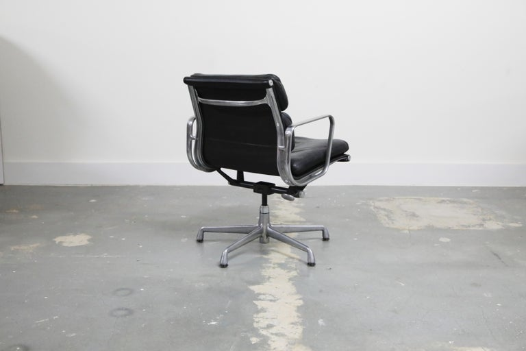 Late 20th Century Pair of Charles Eames for Herman Miller Leather Soft Pad Swivel Chairs, Signed For Sale