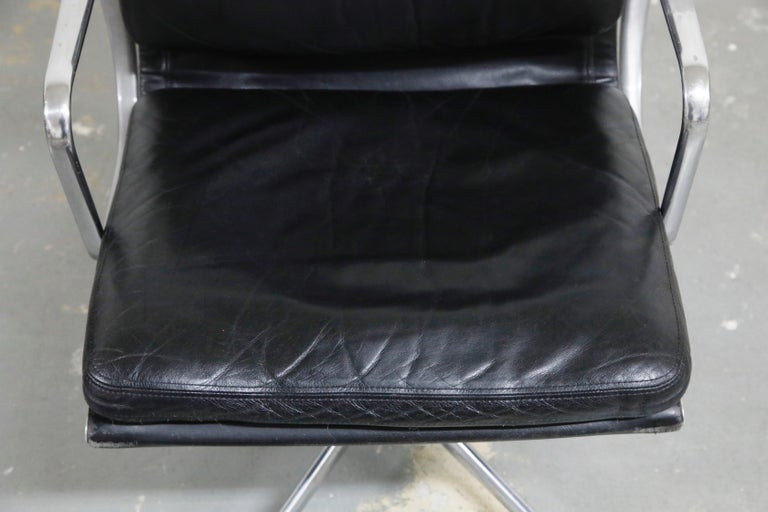 Pair of Charles Eames for Herman Miller Leather Soft Pad Swivel Chairs, Signed For Sale 1