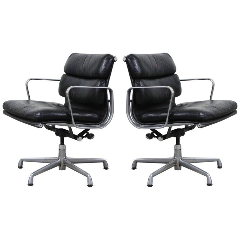 Pair of Charles Eames for Herman Miller Leather Soft Pad Swivel Chairs, Signed For Sale