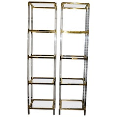 Pair of Charles Hollis Jones Brass 5-Tier Etageres Signed