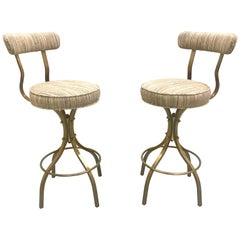 "Pair of Charles Hollis Jones Brass ""Sinatra"" Counter Bar Stools"