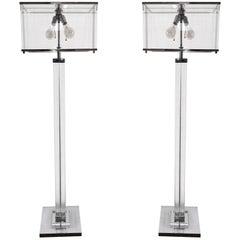 "Pair of Charles Hollis Jones ""Edison"" Floor Lamps in Lucite and Polished Nickel"