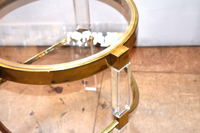 20th Century Pair of Charles Hollis Jones Lucite and Brass Side Tables 'Signed' For Sale