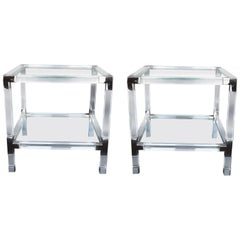 Pair of Charles Hollis Jones Metric Side Tables with Chrome Metal, 1970s