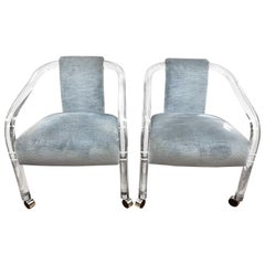 Pair of Charles Hollis Jones Mid-Century Modern Lucite and Velvet Chairs