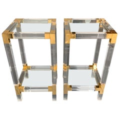 Pair of Charles Hollis Jones Style Lucite and Gilt Metal Side Tables