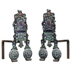 Pair of Charles II Style Armorial Firedogs