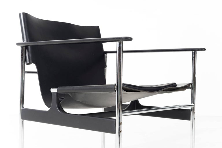 Aluminum Pair of Charles Pollock Black Leather Lounge Chairs