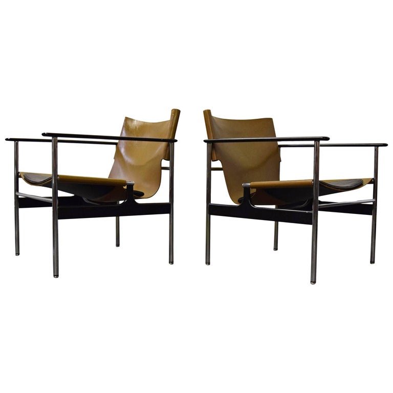Pair of Charles Pollock for Knoll Lounge Chairs For Sale