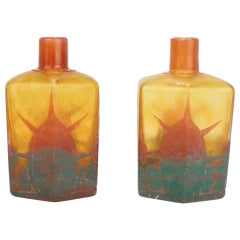 Pair of Charles Schneider French Art Deco Le Verre Francais Cameo Bottles