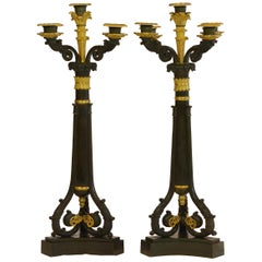 Pair of Charles X Candelabra Engraved with Napoleonic Symbols and Fountainebleau