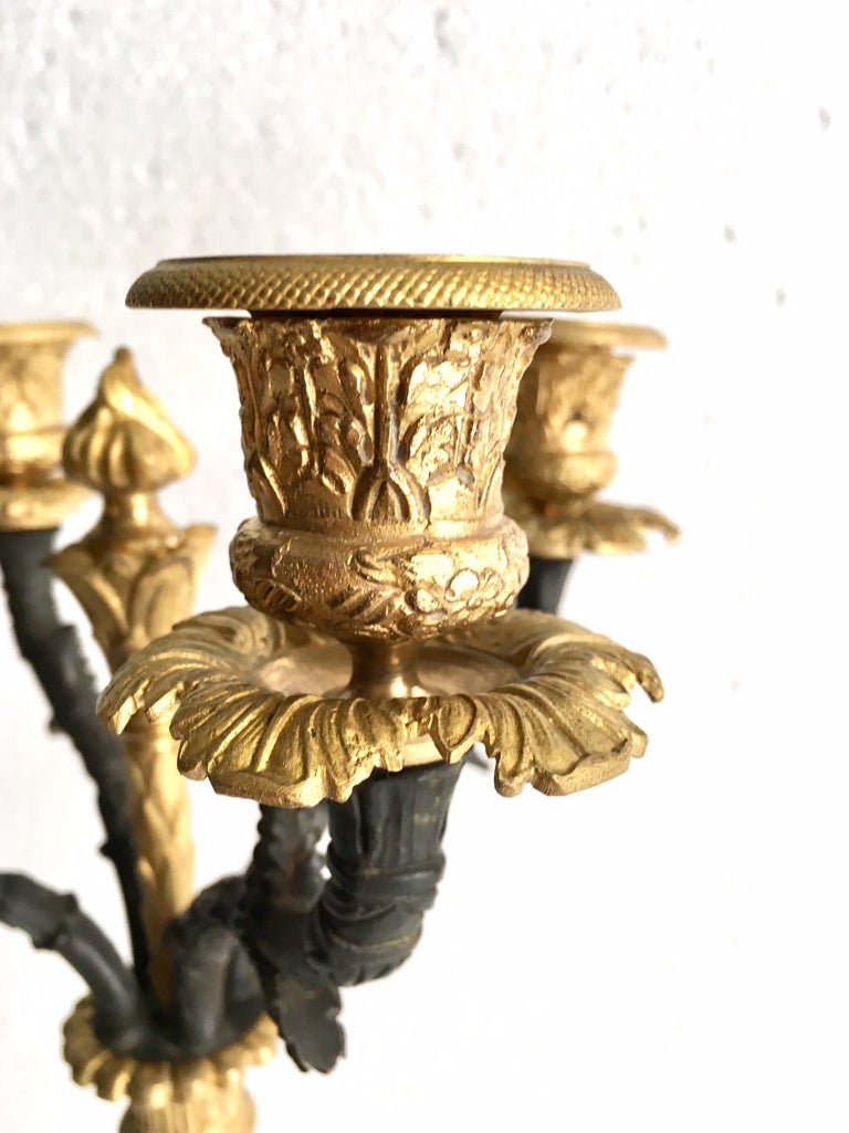 French Pair of Charles X Ormolu and Bronze Candelabra For Sale