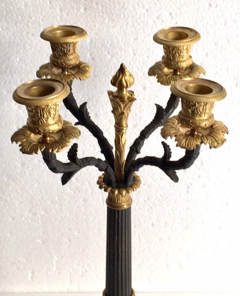 Patinated Pair of Charles X Ormolu and Bronze Candelabra For Sale