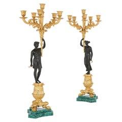 Pair of Charles X Style Austrian Bronze and Malachite Candelabra