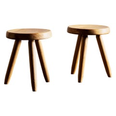 Pair of Charlotte Perriand Berger Stools in Oak, France, 1950s