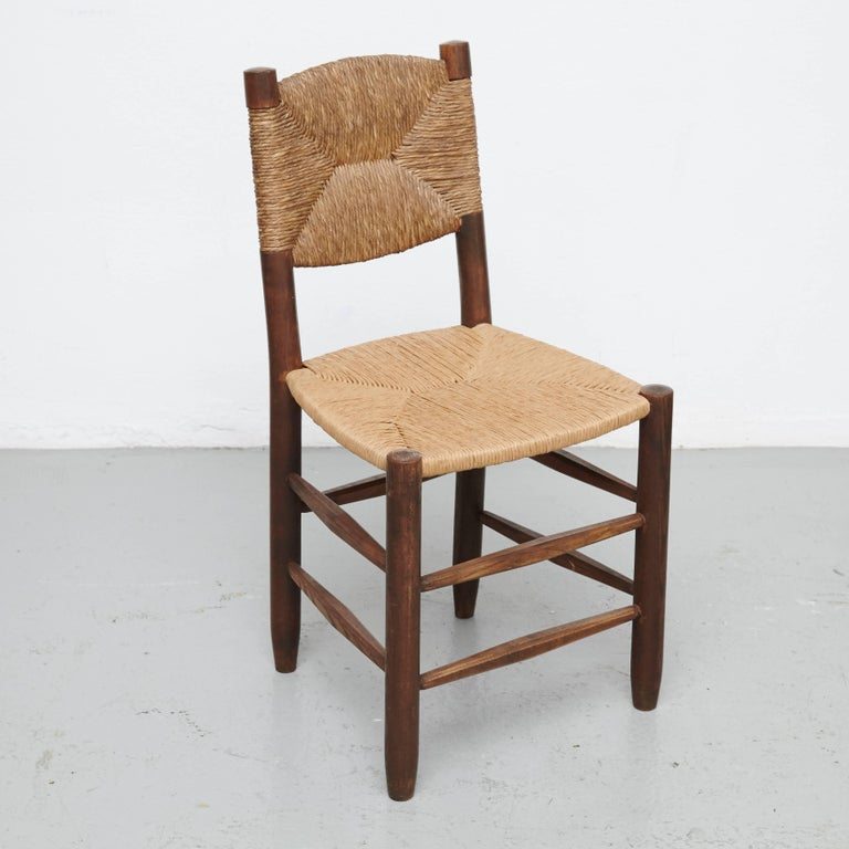 French Pair of Charlotte Perriand Chairs, circa 1950 For Sale