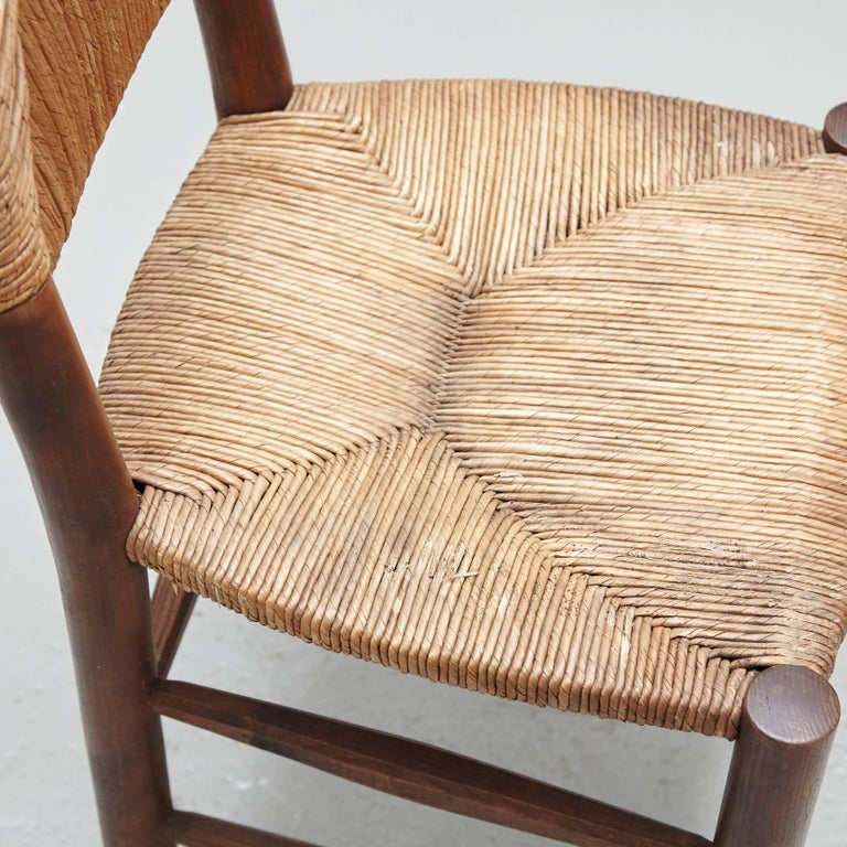 Rattan Pair of Charlotte Perriand Chairs, circa 1950 For Sale