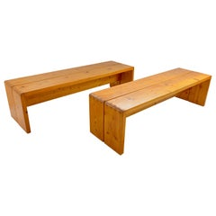 """Pair of Charlotte Perriand """"Les Arcs"""" Benches, circa 1960, France"""