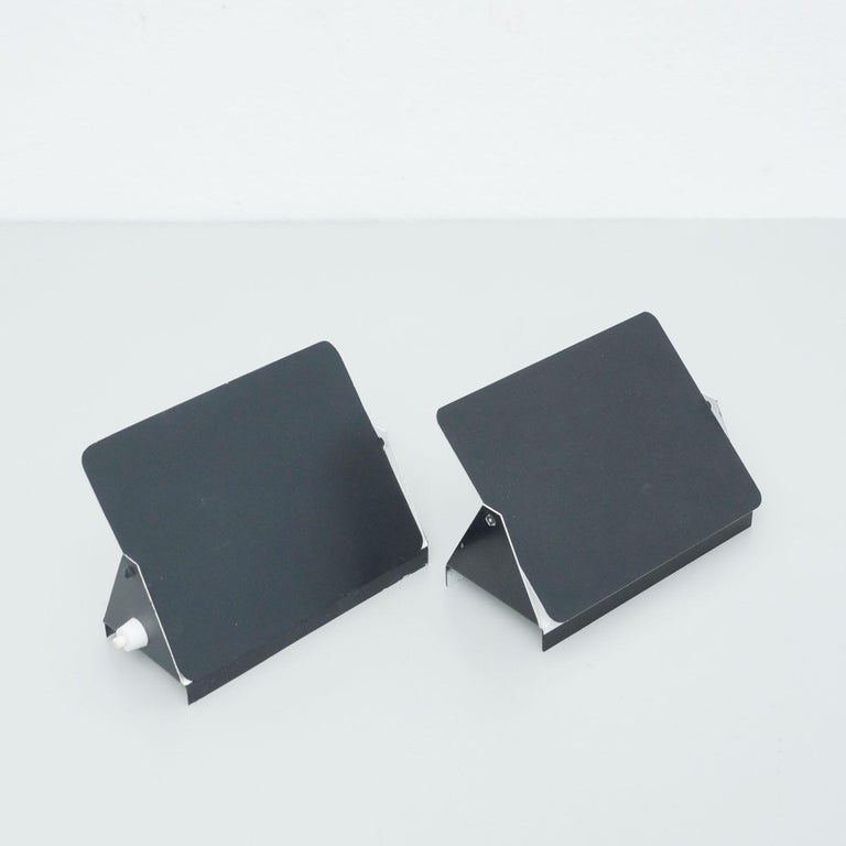 French Pair of Charlotte Perriand Mid-Century Modern Black Metal CP-1 Wall Light, 1960 For Sale