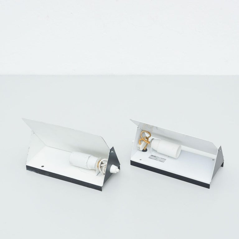 Mid-20th Century Pair of Charlotte Perriand Mid-Century Modern Black Metal CP-1 Wall Light, 1960 For Sale