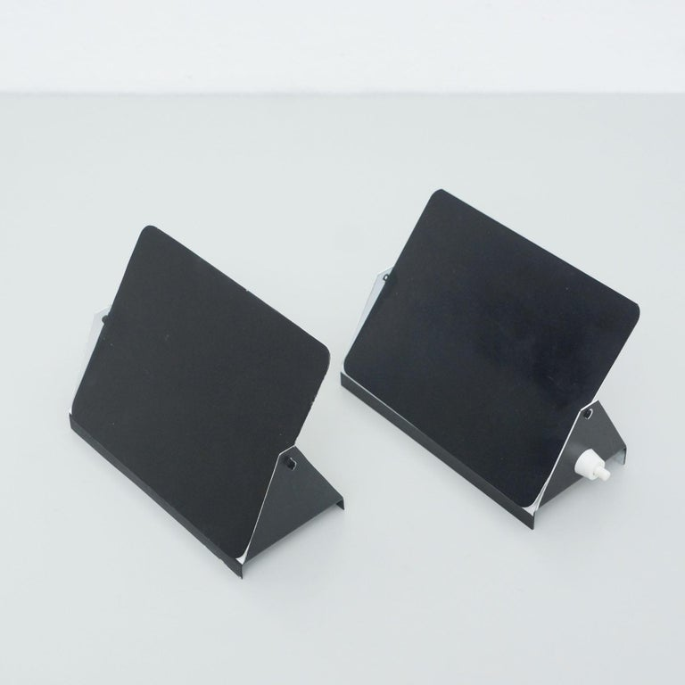 Pair of Charlotte Perriand Mid-Century Modern Black Metal CP-1 Wall Light, 1960 For Sale 1