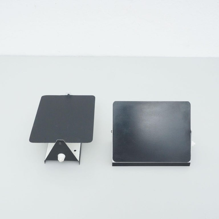 Pair of Charlotte Perriand Mid-Century Modern Black Metal CP-1 Wall Light, 1960 For Sale 2