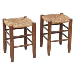 Pair of Charlotte Perriand, Mid-Century Modern, Rattan Wood French Stools