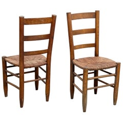 Pair of Charlotte Perriand Mid-Century Modern Wood Rattan, Nº 19, French Chairs