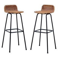 Pair of Charlotte Perriand Style Rattan Bar Stools