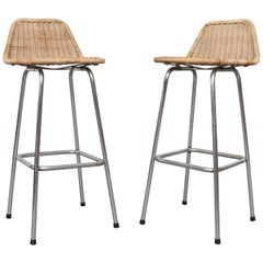 Pair of Charlotte Perriand Style Wicker Bar Stools
