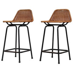 Pair of Charlotte Perriand Style Wicker Counter Stools