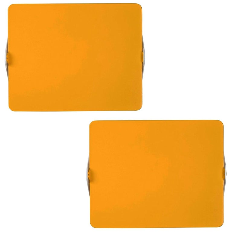 Pair of Charlotte Perriand Yellow 'Applique Á Volet Pivotant' Wall Lights For Sale