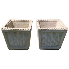 Pair of Charming Cast Cement Basket Motife Planters