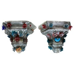 Pair of Charming Murano Wall Brackets