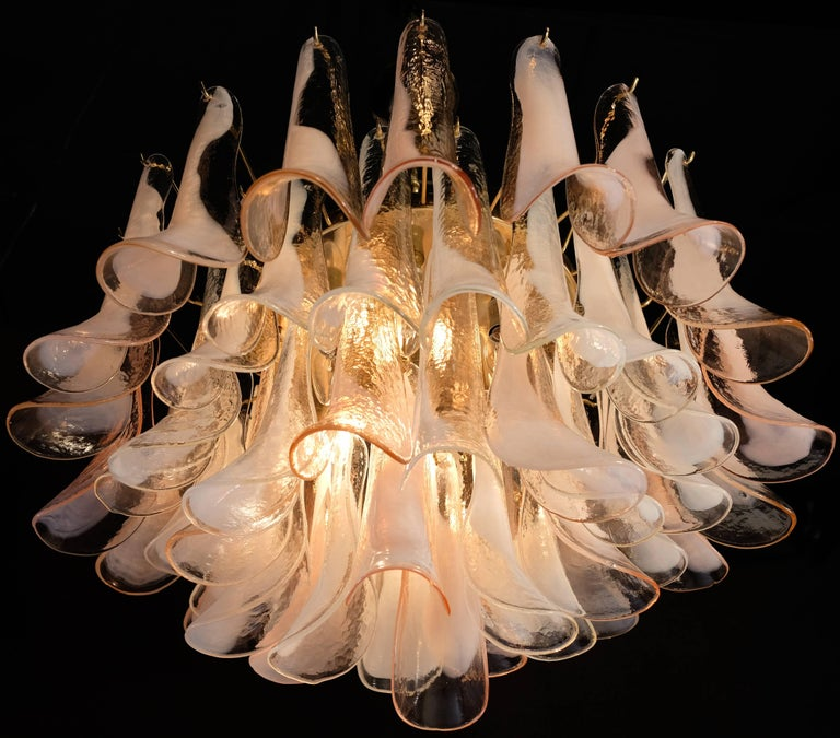Blown Glass Pair of Charming Pink and White Murano Petals Chandeliers or Ceiling Lights For Sale