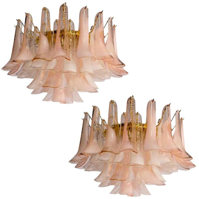 Pair of Charming Pink and White Murano Petals Chandeliers or Ceiling Lights For Sale